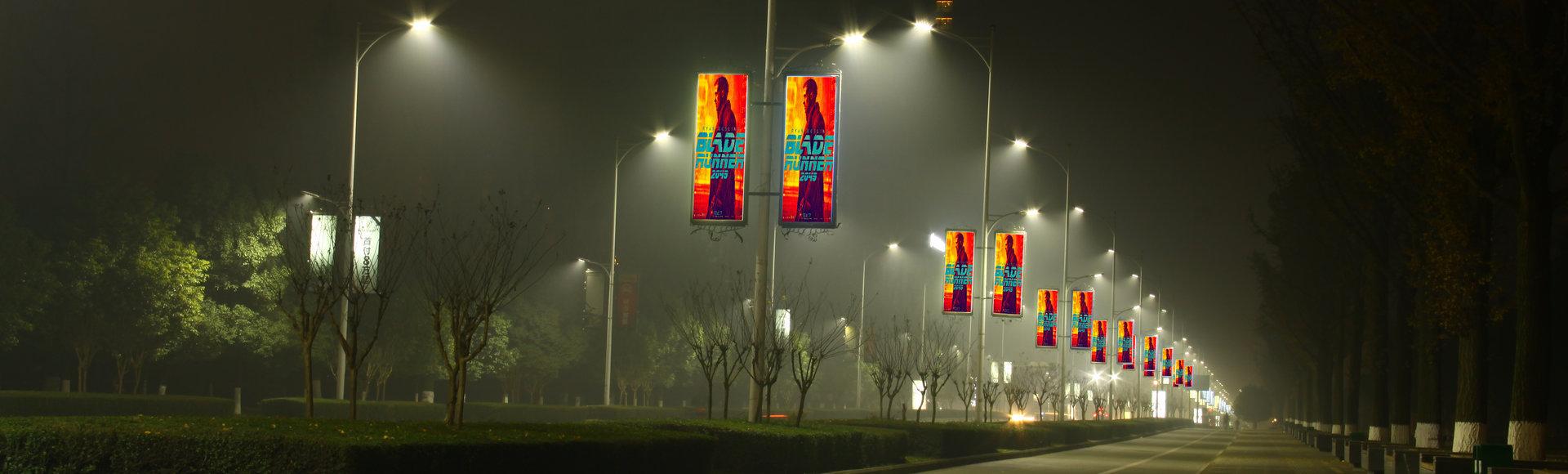 Header Street Light Pole LED Display