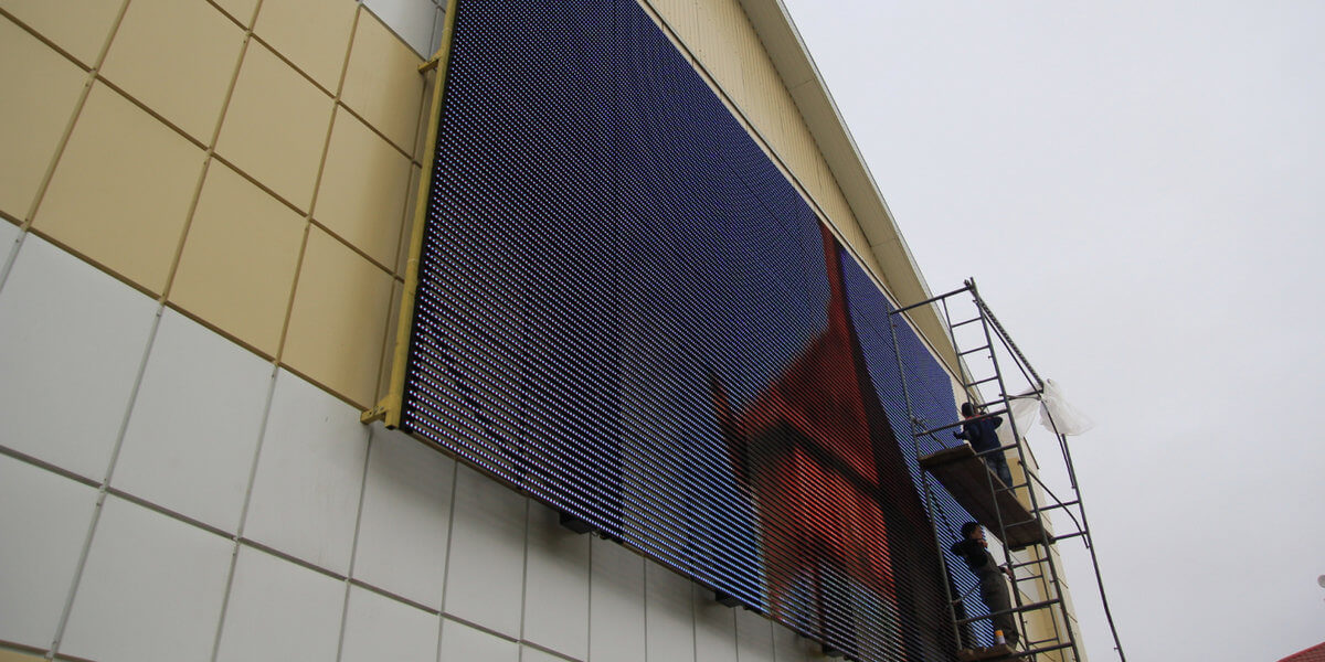 Outdoor transparent LED wall curtain LED wall