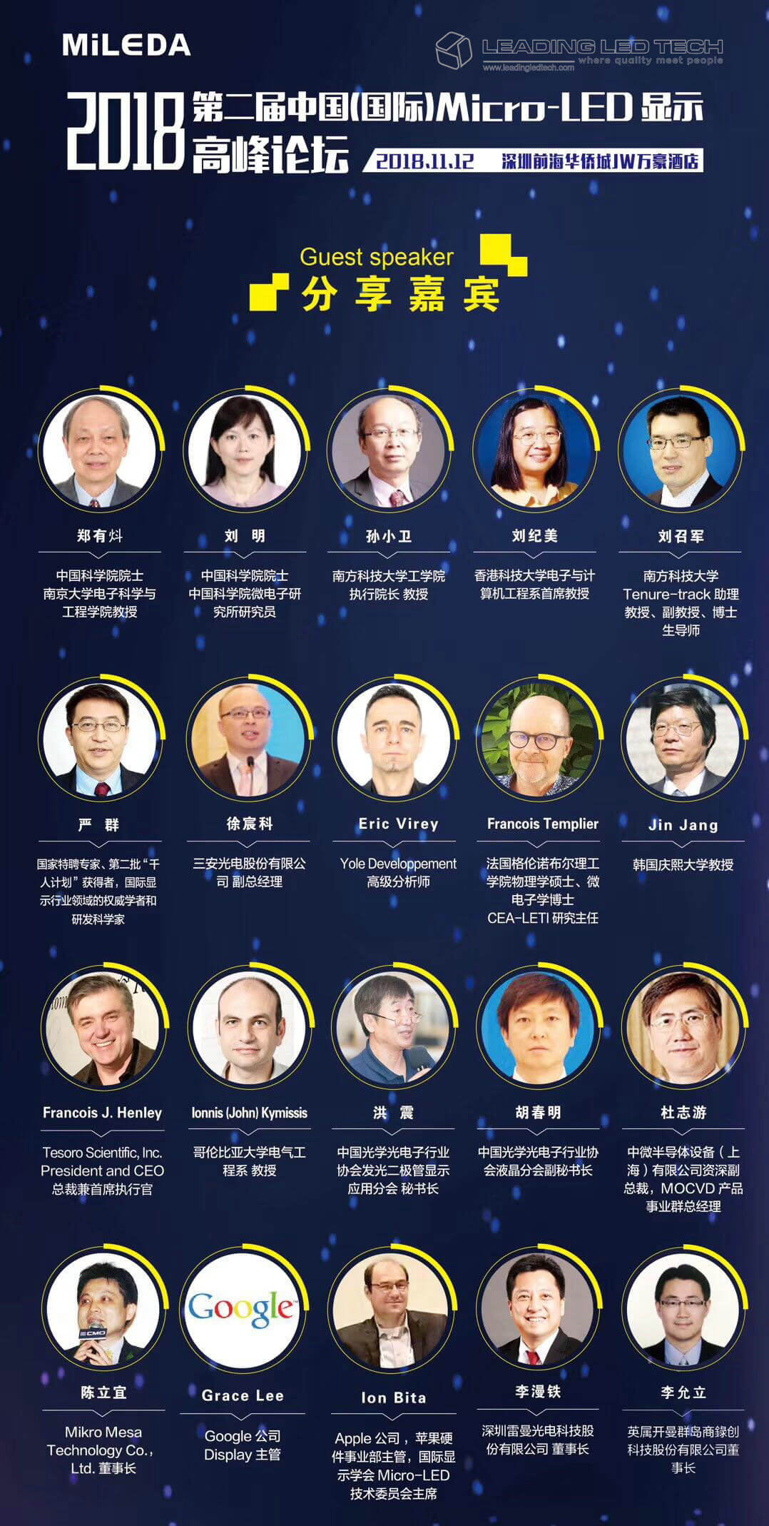 The 2nd China (International) Micro-LED Display Summit guest speaker